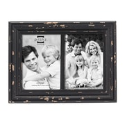 Prinz Two Opening Carson Distressed Wood Picture Frame; Black