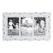 Prinz Three Opening Carson Distressed Wood Picture Frame; White