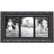 Prinz Three Opening Carson Distressed Wood Picture Frame; Black
