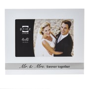 Prinz 'Mr. & Mrs.' Ever After Wood with Silk Screened Metal Inlay Picture Frame