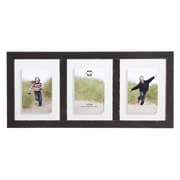 Prinz 3 Opening Bristol Distressed Wood Float Picture Frame; Black