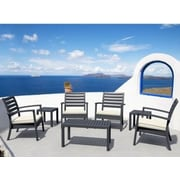 Compamia Artemis 7 Piece Arm Chair Seating Group; Silver Gray