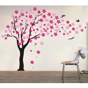 Pop Decors Drifting Flowers and Birds Tree Wall Decal