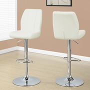 Monarch Specialties Inc. Adjustable Height Swivel Bar Stool with Cushion (Set of 2); White