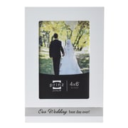 Prinz 'Our Wedding' Ever After Wood with Silk Screened Metal Inlay Picture Frame