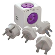 PowerCube ReWirable Travel Adapter with 4 Outlets & 2 USB Ports
