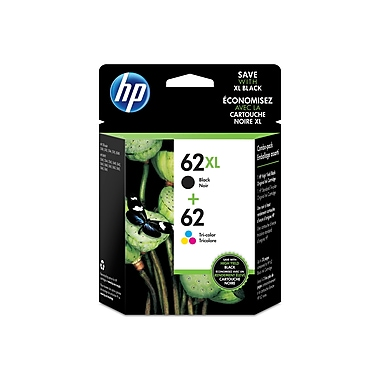 HP 62XL High Yield Black & 62 Tri-Color Original Ink Cartridges, 2/Pack (N9H67FN)