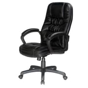 Comfort Products High-Back Bonded Leather Executive Chair, Fixed Arms, Black