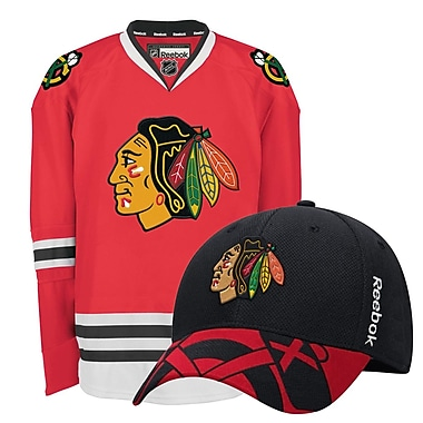 Chicago Blackhawks Men's Home Jersey & Draft Cap Bundle, Medium