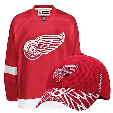 Detroit Redwings Men's Home Jersey & Draft Cap Bundle, X Large