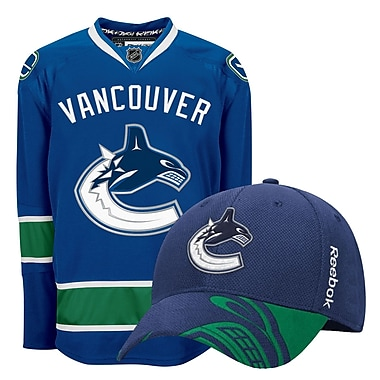 Vancouver Canucks Men's Home Jersey & Draft Cap Bundle, Large