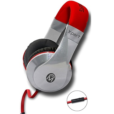 Mental Beats Xpert DJ Headphones with Microphone, Red
