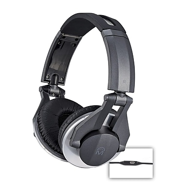 Mental Beats Metal DJ Headphones with Microphone, Black