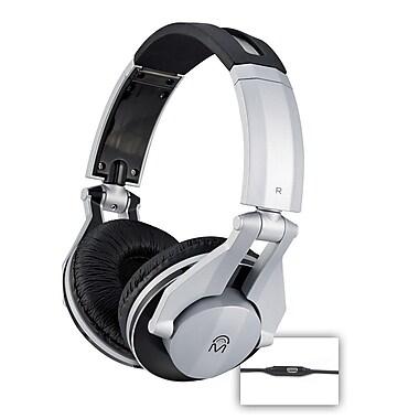 Mental Beats Metal DJ Headphones with Microphone, Silver