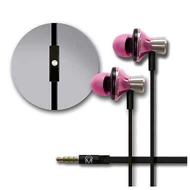 Mental Beats Metal Audio In-Ear Earbuds with Microphone, Pink