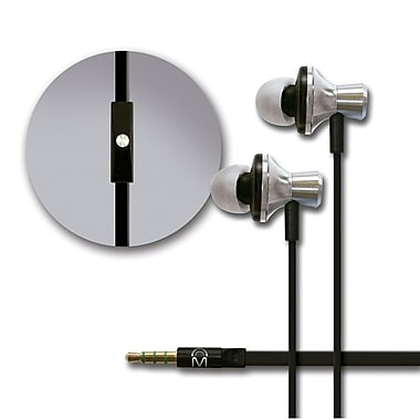 Mental Beats Metal Audio In-Ear Earbuds with Microphone, Silver