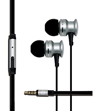 Mental Beats Xcentric Extra Bass Audio In-Ear Earbuds with Microphone, Silver