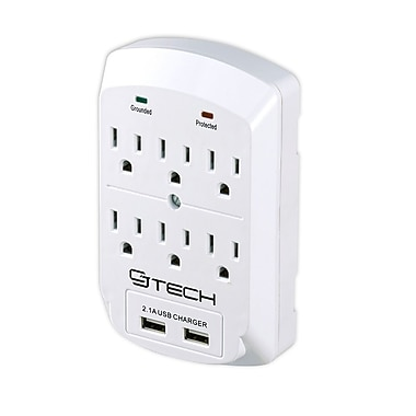CJ Tech 6 Outlet 2 USB 2.1 Amp Wall Tap (300 Joules)
