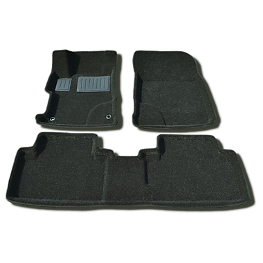 Findway 3D Floor Mats (2609BB) for 2012-2013 Honda Civic Sedan, Black, English