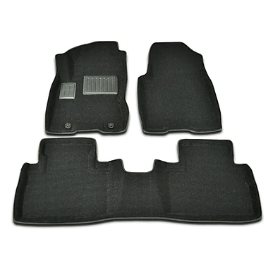 Findway 3D Floor Mats (46130BB) for 2008-2013 Nissan Rogue, Black, English