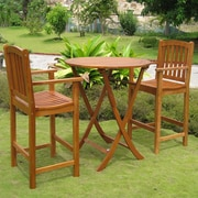 International Caravan Royal Tahiti Terrassa 3 Piece Bar Height Patio Bistro Set