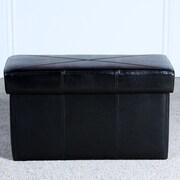 Home Loft Concepts Malik Leather Storage Ottoman; Black