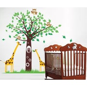 Pop Decors Big Tree with Cute Giraffe Removable Vinyl Art Wall Decal