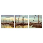Antique Revival Fleet of Sailboats 3 Piece Photographic Print Set