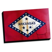 Arkansas Distressed Colorful National Patriotic Flag Graphic Art on Wrapped Canvas