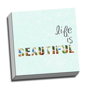 Picture it on Canvas Wood Art Life Is Beautiful Quote Textual Art on Wrapped Canvas