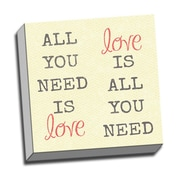 Picture it on Canvas Wood Art All You Need Is Love Quote Textual Art on Wrapped Canvas