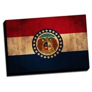 Montana Distressed Colorful National Patriotic Flag Graphic Art on Wrapped Canvas
