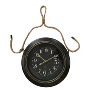 Cheungs 19.75'' Metal Wall Clock w/ Rope Hanger; Black