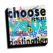 Picture it on Canvas Wood Art Choose Your Destination Quote Textual Art on Wrapped Canvas