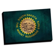 South Dakota Distressed Colorful National Patriotic Flag Graphic Art on Wrapped Canvas