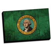 Washington Distressed Colorful National Patriotic Flag Graphic Art on Wrapped Canvas