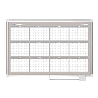 MasterVision – Tableau planificateur magnétique de 12 mois, format traditionnel, 48 po x 36 po, cadre aluminium (GA05106830)