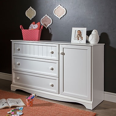 South Shore Savannah 3-Drawer Dresser with Door, Pure White, 53.25