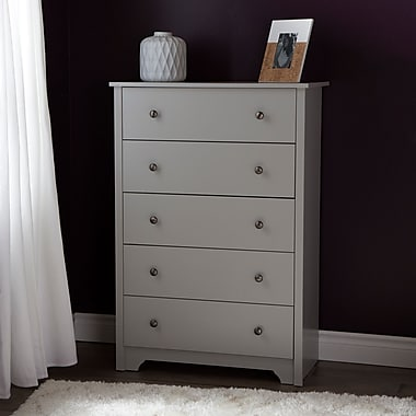 South Shore Vito 5-Drawer Chest, Soft Gray, 31.5