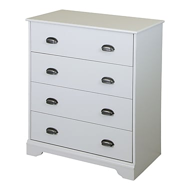 "Commode 4 tiroirs, Blanc solide, collection Fundy Tide de Meubles South Shore, 31""L x 16""D x 36""H"