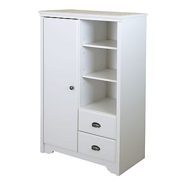 South Shore Fundy Tide Armoire with Drawers, Pure White, 34