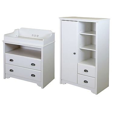 South Shore Fundy Tide Changing Table and Armoire with Drawers, Pure White