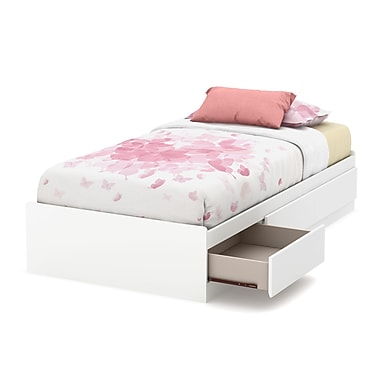South Shore Callesto Twin Mates Bed (39'') with 3 Drawers, Pure White