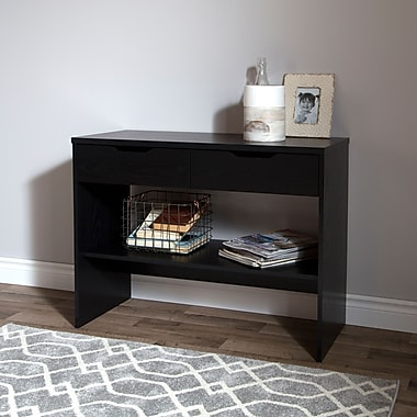 South Shore Flexible Console Table with 2 Drawers, Black Oak, 38.25