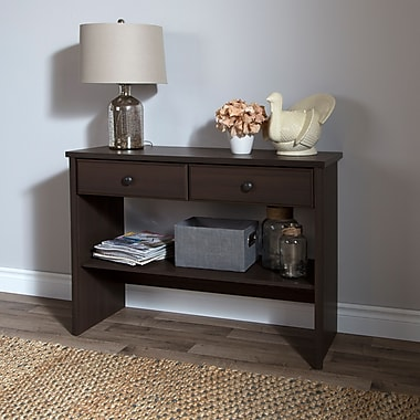 South Shore Beaujolais Console Table with 2 Drawers, Matte Brown, 39.75