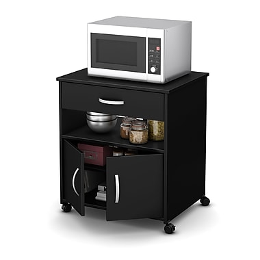South Shore Fiesta Microwave Cart on Wheels, Pure Black, 26