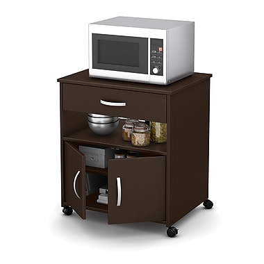 South Shore Fiesta Microwave Cart on Wheels, Chocolate, 26