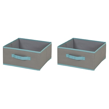 South Shore Fabric Storage Bin, 2 pack, Medium Size, Gray and Turquoise, 12 (L) x 12 (D) x 6 (H)