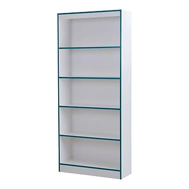 """Bibliothèque 5 tablettes, Blanc solide et turquoise, Axess de Meubles South Shore 31""""L x 12""""D x 71""""H"""