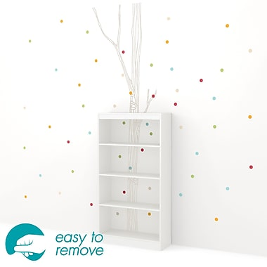 South Shore Axess 4-Shelf Bookcase with Birch Tree and Colored Dots Decals, White, 31 Lx12 Dx58 H